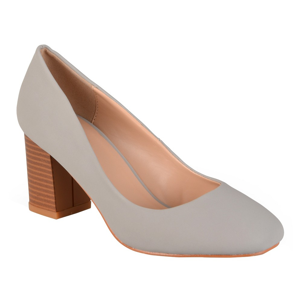 Womens Journee Collection Amanda Classic Stacked Heel Pumps - Gray 7