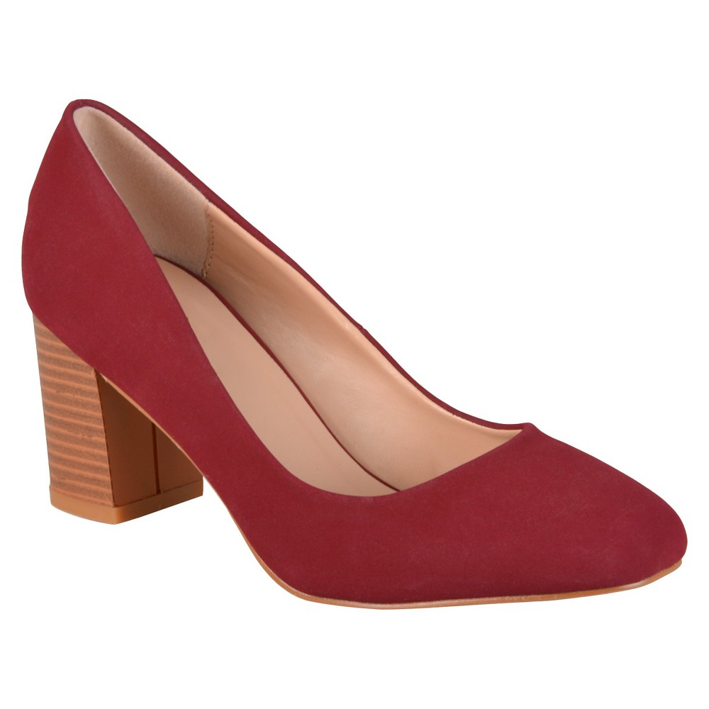 Womens Journee Collection Amanda Classic Stacked Heel Pumps - Wine 7, Red