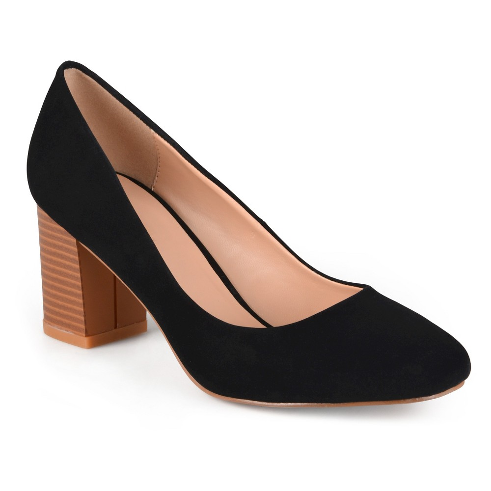 Womens Journee Collection Amanda Classic Stacked Heel Pumps - Black 6