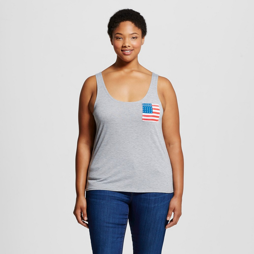 Womens Plus Size Flag Pocket Graphic Tank Top - Fifth Sun Gray 3X