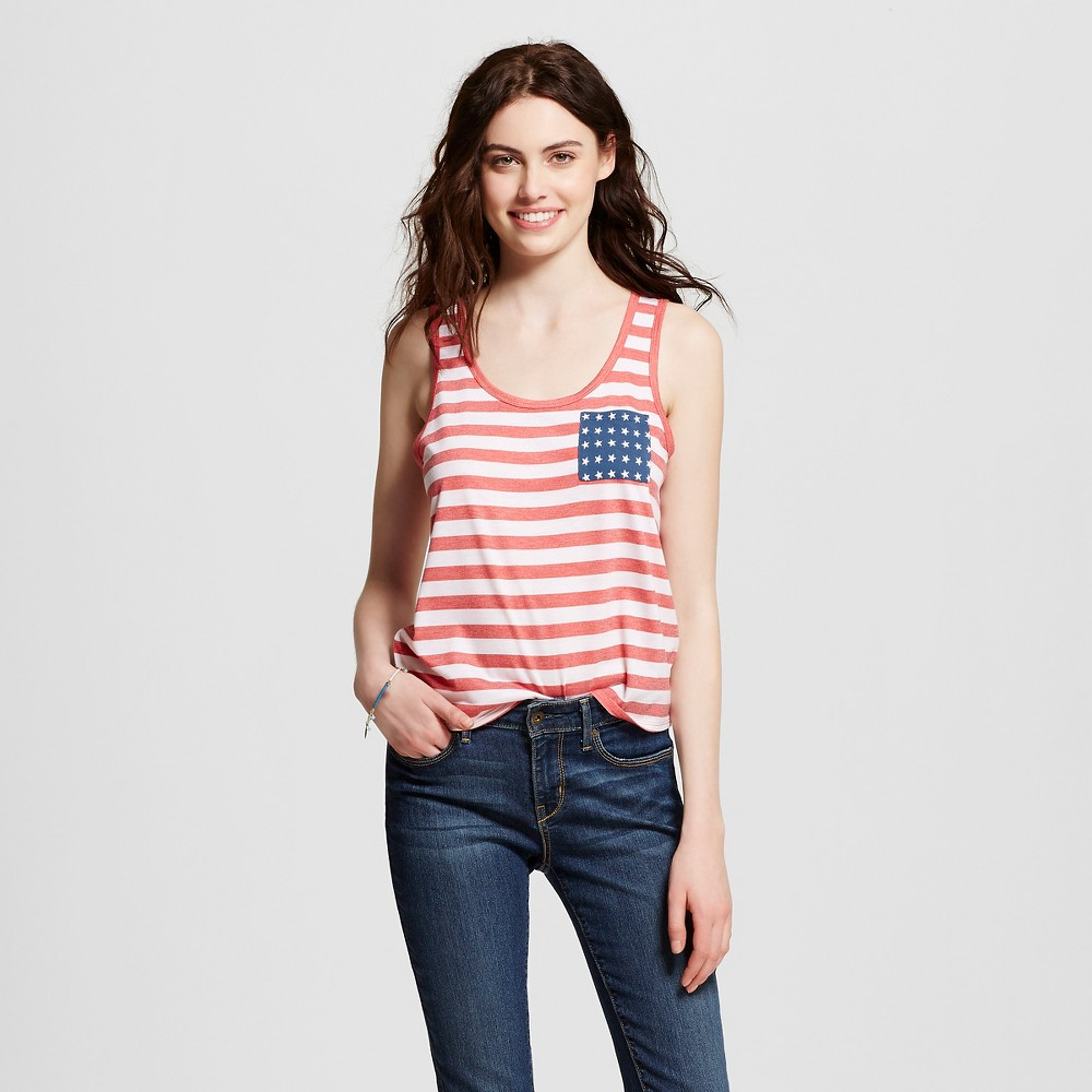Womens Americana Stripe and Star Pocket Graphic Tank Navy L - Fifth Sun (Juniors), Multicolored