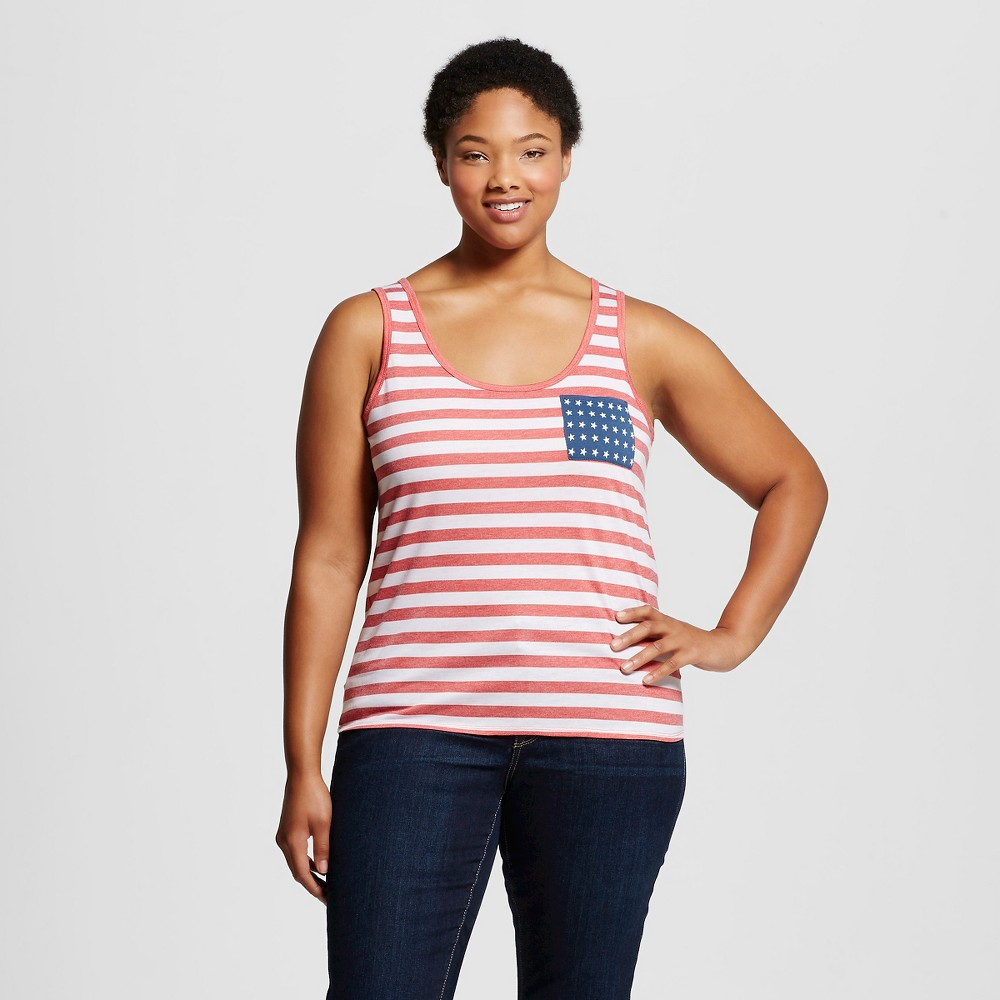 Womens Plus Size Americana Stripe & Star Pocket Graphic Tank Top - Fifth Sun Navy 1X, Multicolored