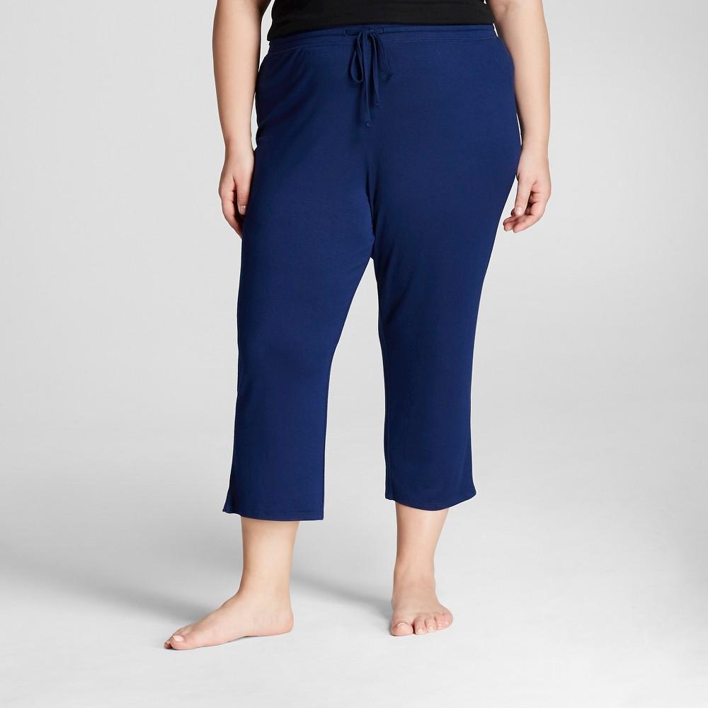 Plus Size Plus Pajama Knit Crop Total Comfort - Navy 2X, Womens, Nighttime Blue
