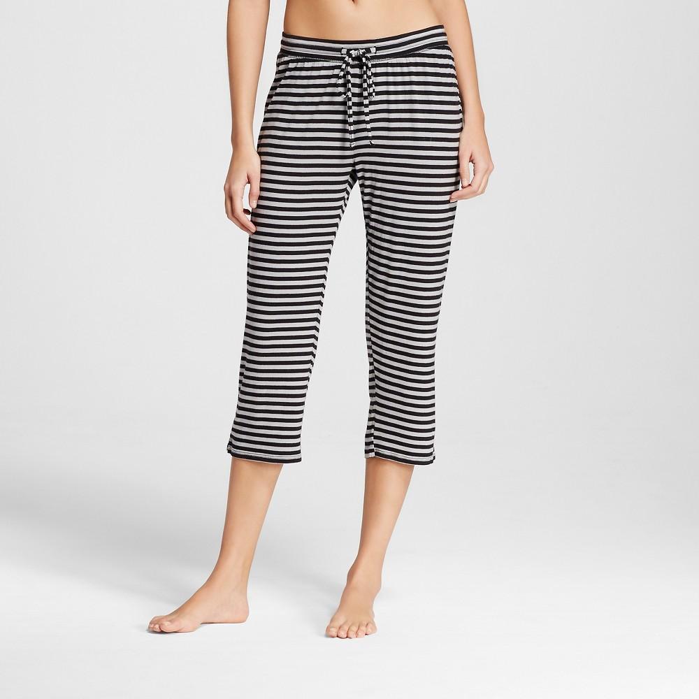 Womens Pajama Total Comfort Crop Pants - Black Gray Stripe S