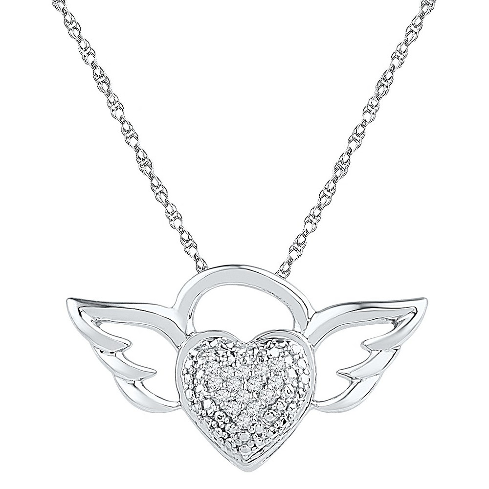 1/20 CT. T.W. Round White Diamond Prong Set Heart Pendant in Sterling Silver (IJ-I2-I3), Womens