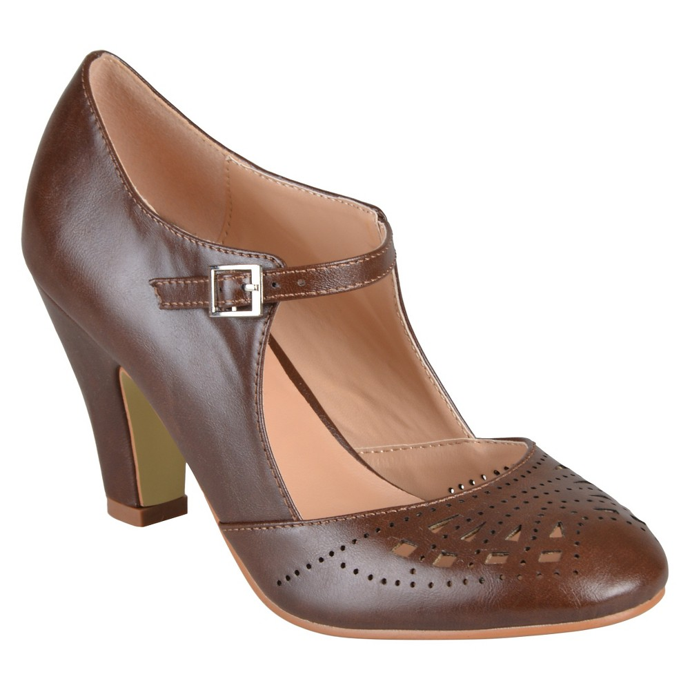 Womens Journee Collection Elsa Round Toe Cutout Mary Jane Pumps - Brown 9