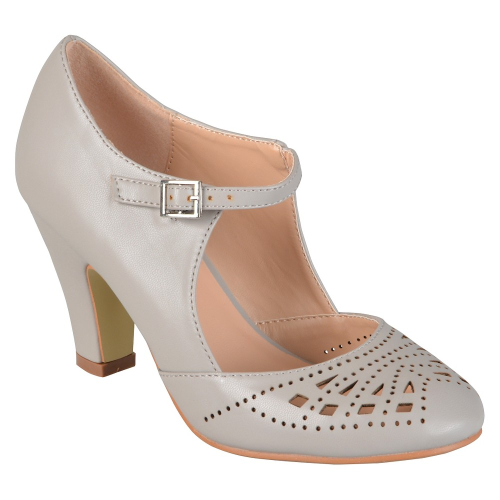 Womens Journee Collection Elsa Round Toe Cutout Mary Jane Pumps - Gray 6