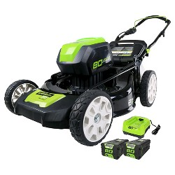 """Greenworks Pro 21"""" Lawn Mower - 2Ah Batteries and Charger Included"""
