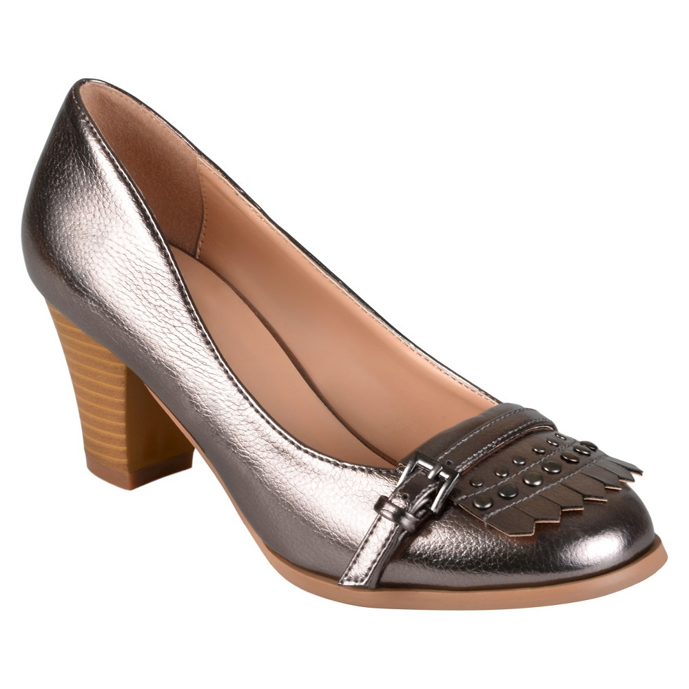 Womens Journee Collection Nora Stacked Heel Loafer Pumps - Pewter (Silver) 7.5