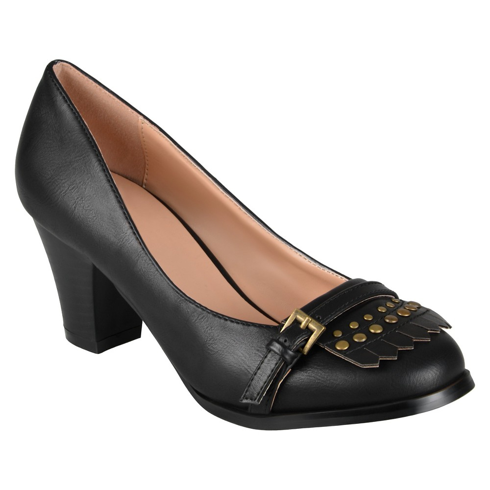 Womens Journee Collection Nora Stacked Heel Loafer Pumps - Black 6