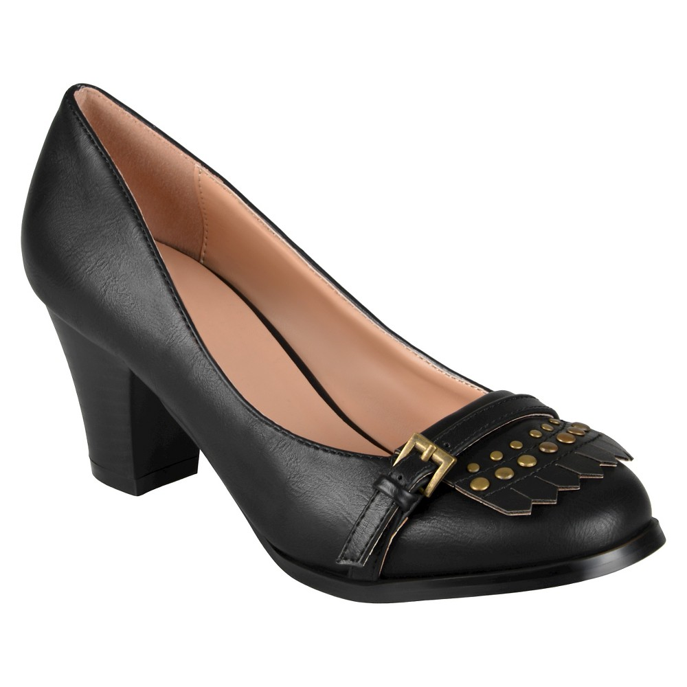 Womens Journee Collection Nora Stacked Heel Loafer Pumps - Black 8.5