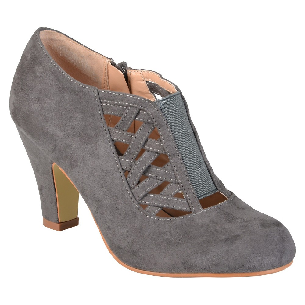 Womens Journee Collection Piper Round Toe High Heel Booties - Gray 8.5