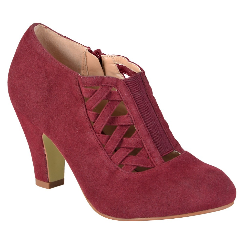 Womens Journee Collection Piper Round Toe High Heel Booties - Wine 6, Red