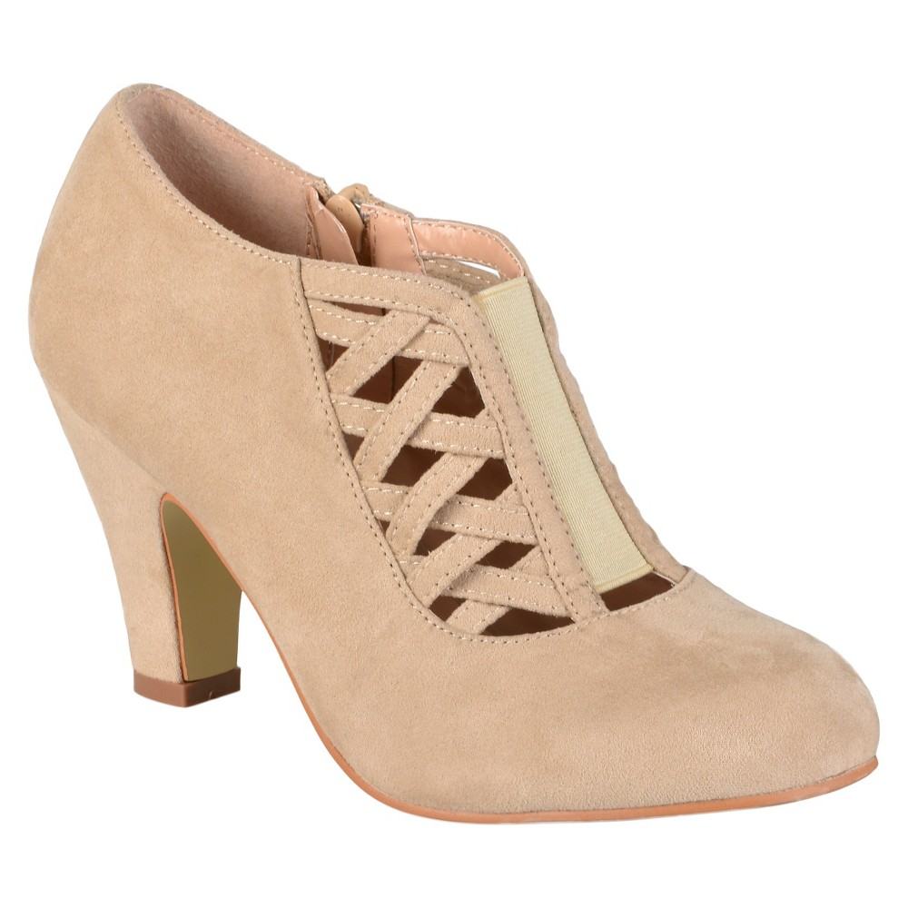 Womens Journee Collection Piper Round Toe High Heel Booties - Taupe 6, Taupe Brown