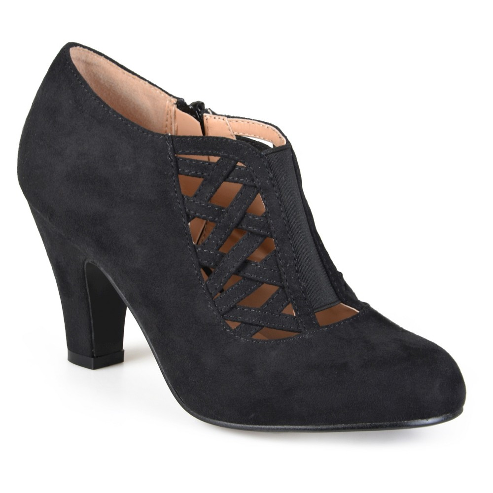Womens Journee Collection Piper Round Toe High Heel Booties - Black 8