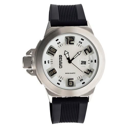 Men's Breed Alpha 2 Carbon Fiber Patterned Dial Polyurethane Strap Watch-Silver/White, silver white