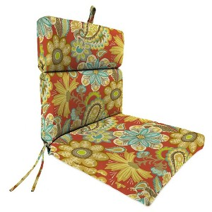 Jordan French Edge Dining Chair Cushion - Flower Child Cayenne