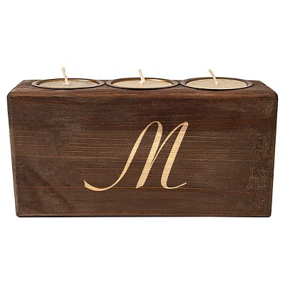Monogram Rustic Head Table Candle Holder Bark M - Cathy's Concepts®