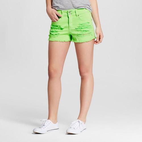 Women's High Waisted Frayed Jean Shorts Neon Green 1 - Dollhouse (Juniors')