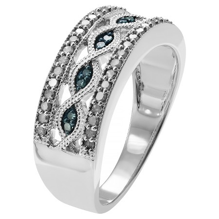 1 2 CT T W Round Cut Diamond Accent Pave Set Ring in Sterling Silver HI I3 Blue White 5
