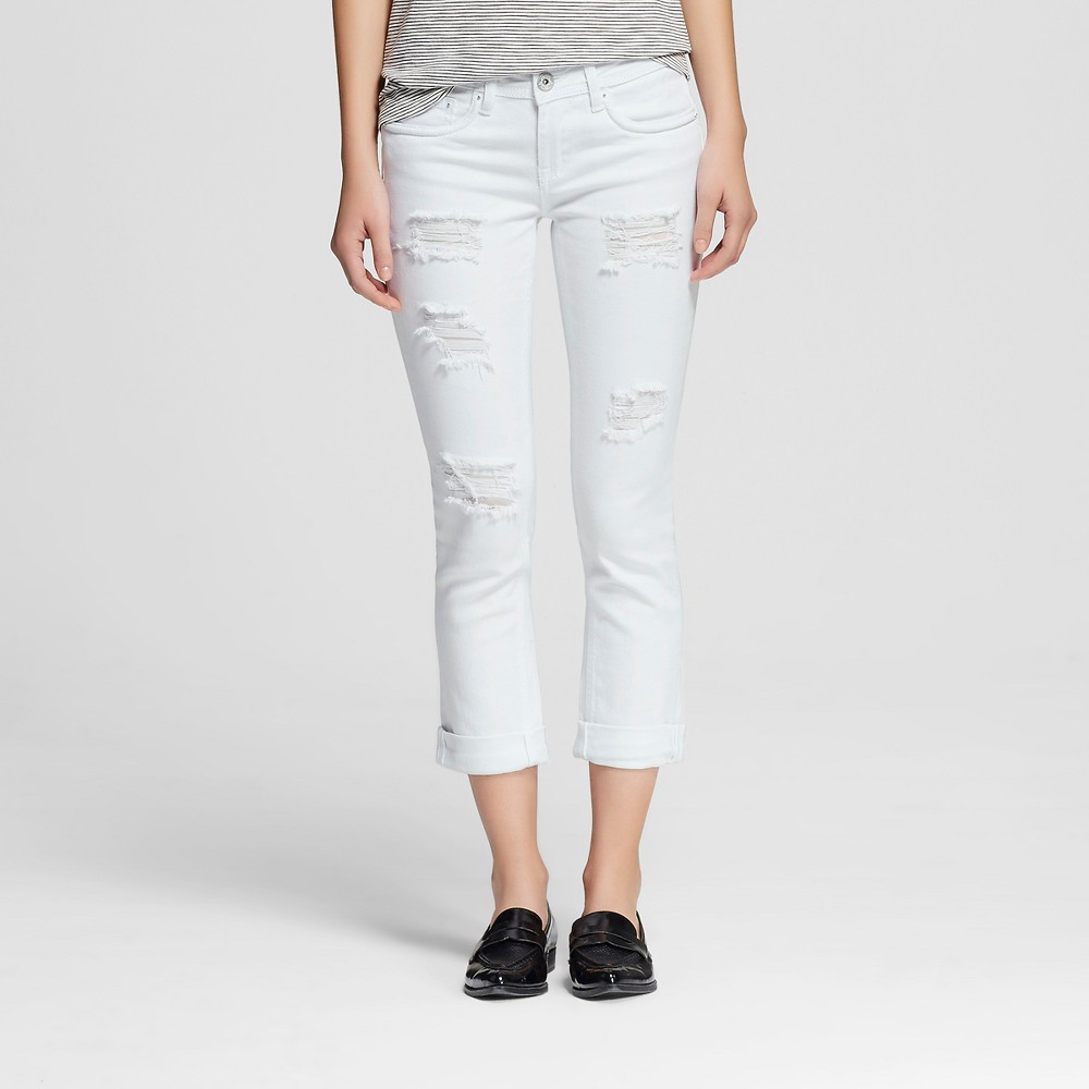 Womens Mid Rise Rolled Crop Jeans White 5 - Dollhouse (Juniors)