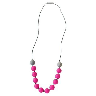Itzy Ritzy Teething Happens Round Bead Petite Necklace - Hot Pink