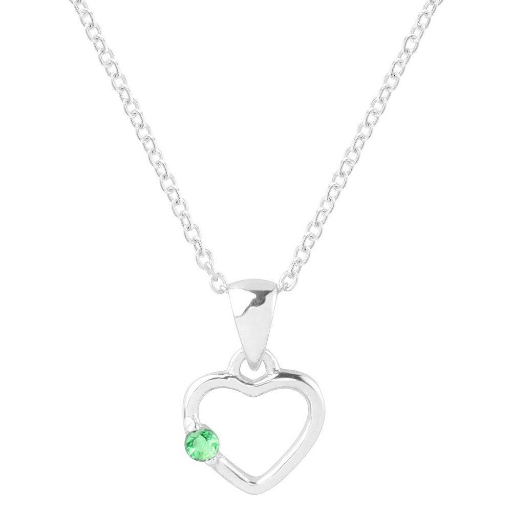 1/10 CT. T.W. Round-cut CZ Heart Pave Set Necklace in Sterling Silver - Green, Womens