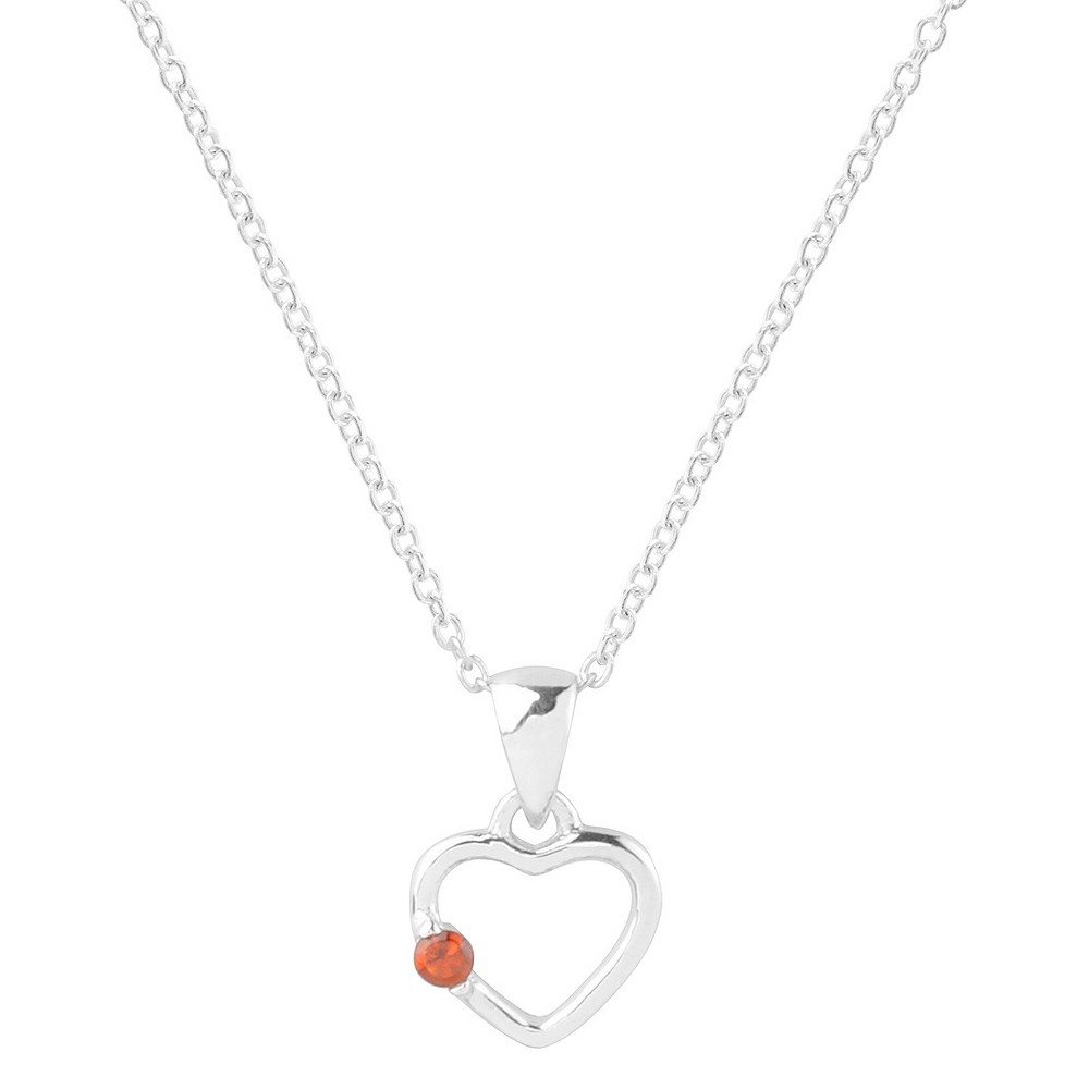 1/10 CT. T.W. Round-cut CZ Heart Pave Set Necklace in Sterling Silver - Red, Womens