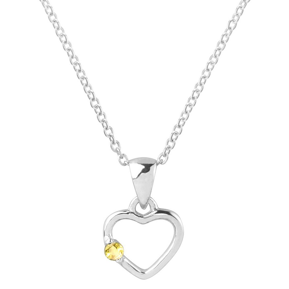 1/10 CT. T.W. Round-cut CZ Heart Pave Set Necklace in Sterling Silver - Yellow, Womens
