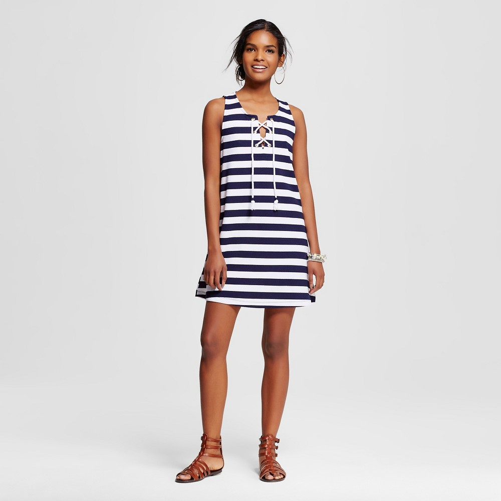 Women's Striped Lace Up Dress Navy/White L - Almost Famous (Juniors'), Blue