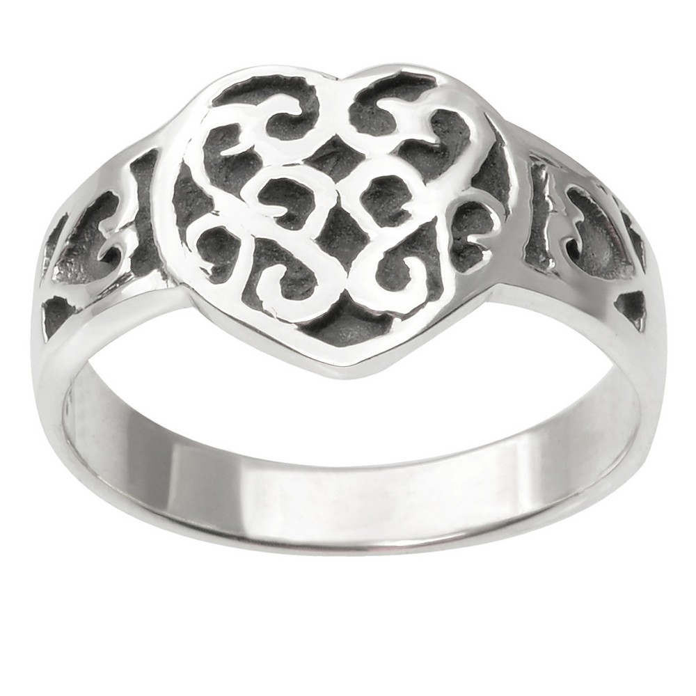 Journee Collection Heart Accent Ring in Sterling Silver - Silver, 8, Womens