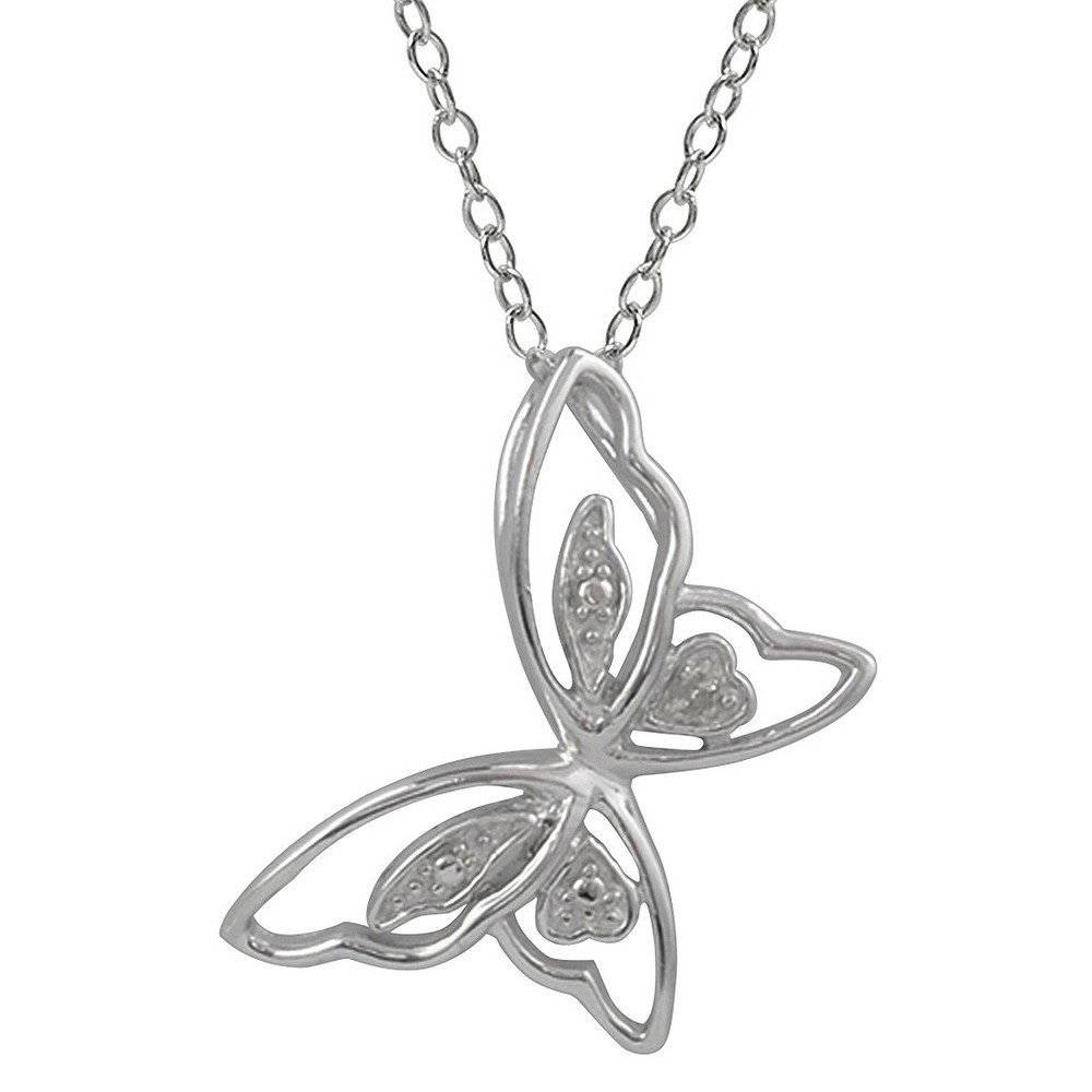1/10 CT. T.W. Round-cut Diamond Pave-set High Polished Butterfly Necklace in Sterling Silver - Silver, Womens