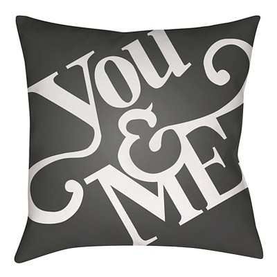 Black You & Me Throw Pillow 18 x18  - Surya