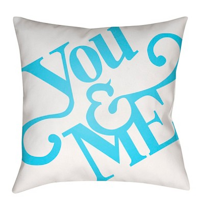 Teal You & Me Throw Pillow 18 x18  - Surya
