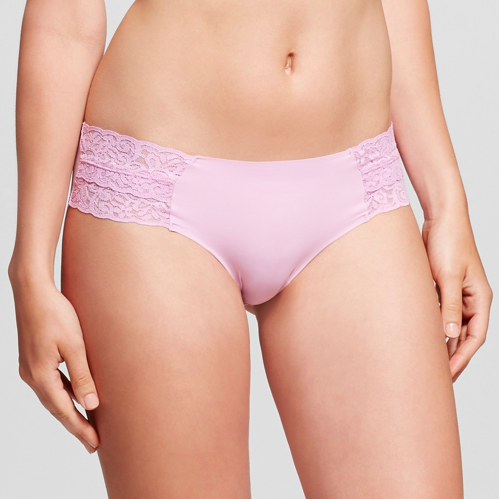 Womens Cheeky Laser Cut with Lace Boyshorts - Xhilaration Pink Violet L