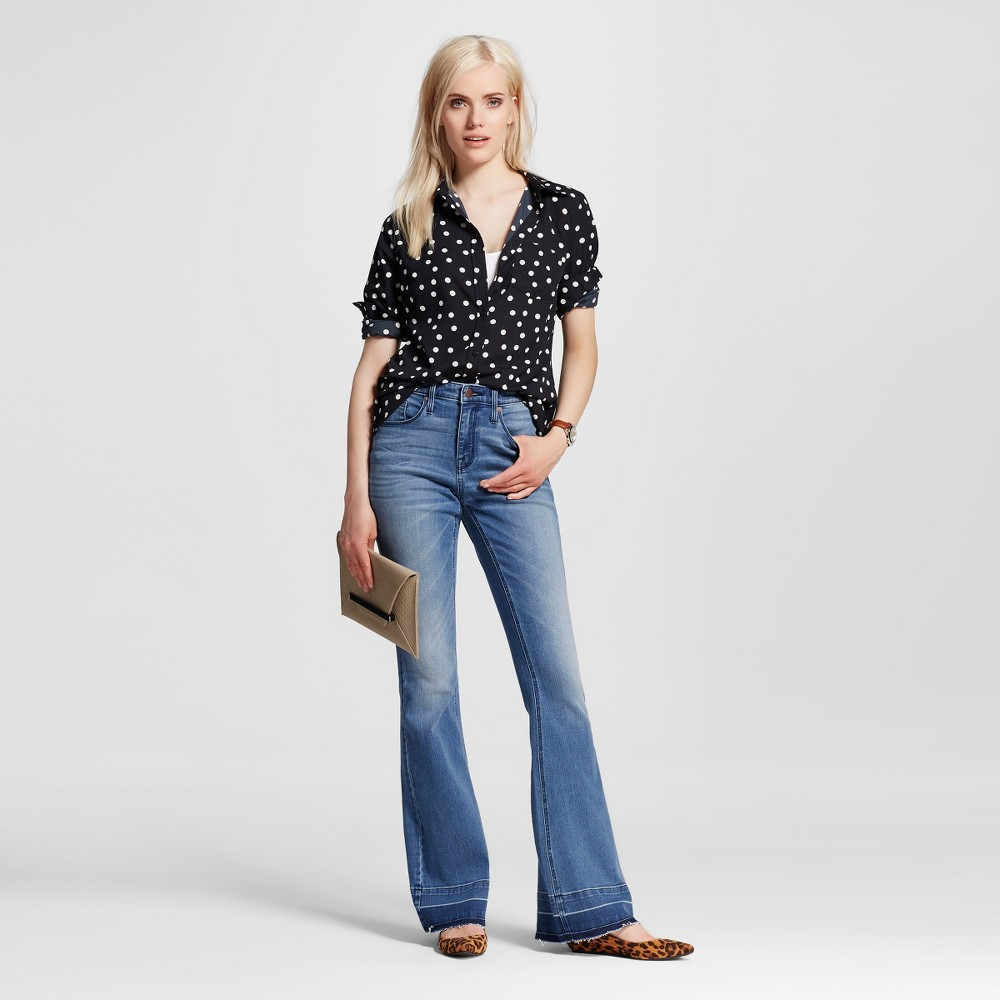 Women's 1960s Style Pants Womens High-rise Flare Jeans Medium Wash 0L - Mossimo Size 0 Long Blue $20.98 AT vintagedancer.com
