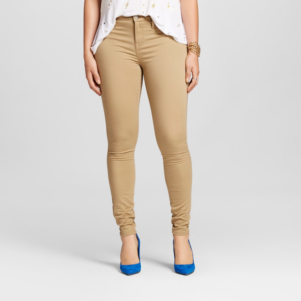 Womens Mid-rise Jegging (Curvy Fit) - Mossimo Khaki 8L, Size: 8 Long, Beige