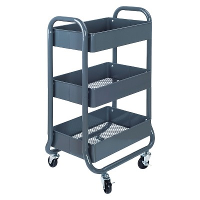 3-Tier Rolling Cart Gray - Room Essentials™