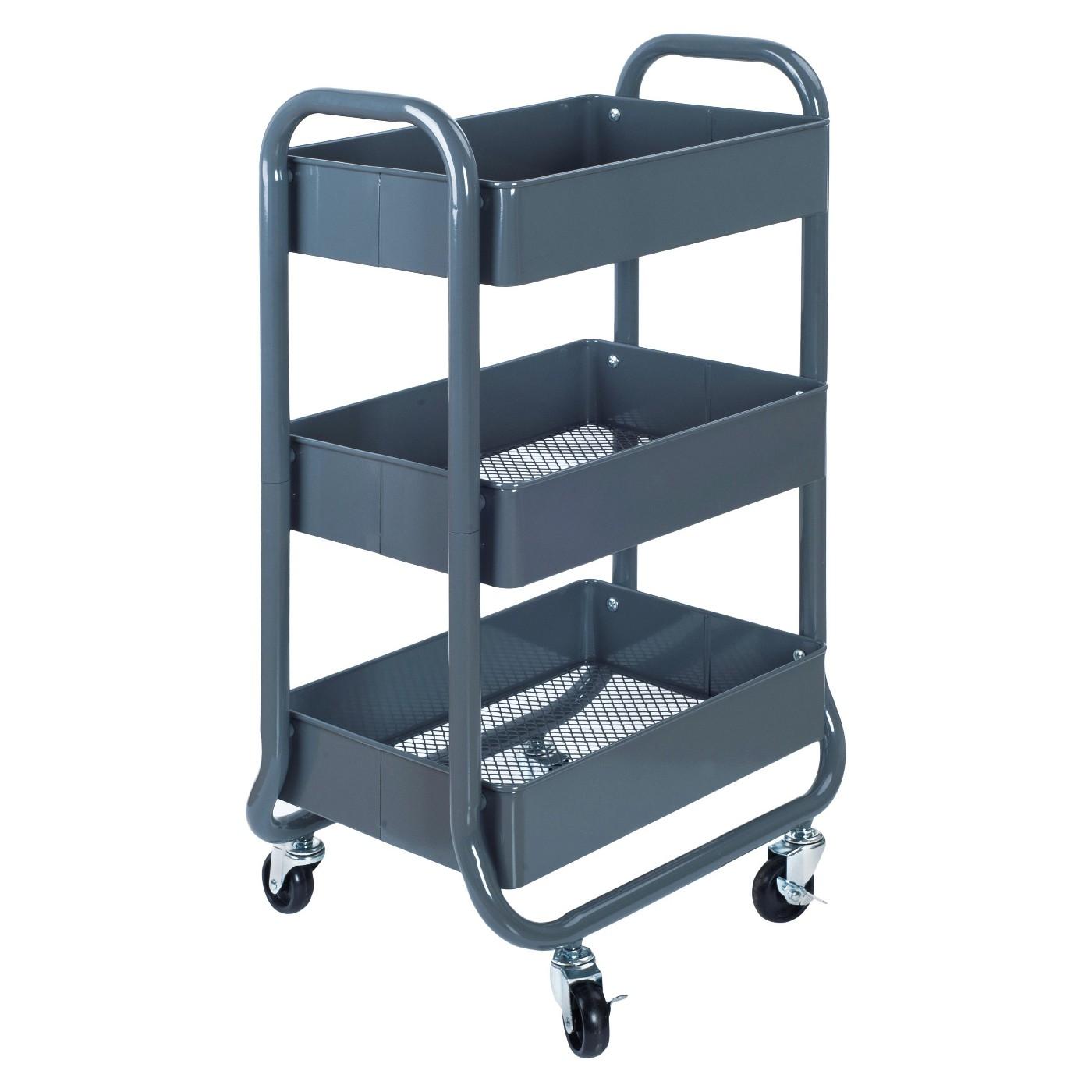 3-Tier Rolling Cart Gray Room Essentials