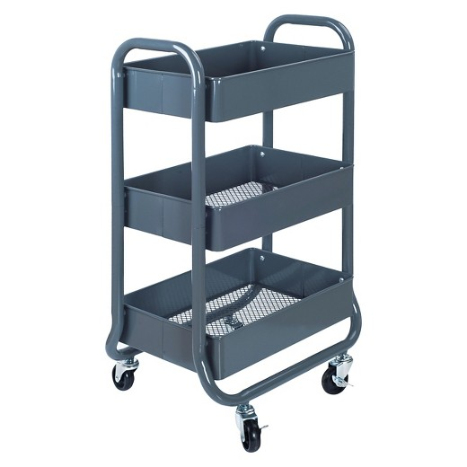 3 Tier Rolling Cart Gray