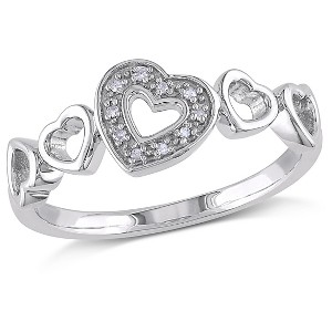 0.03 CT. T.W. Diamond Heart Ring in Sterling Silver (I3) (8), Women