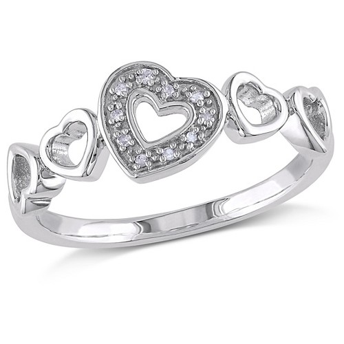 0.03 CT. T.W. Diamond Heart Ring in Sterling Silver (I3) (6), Women's, White