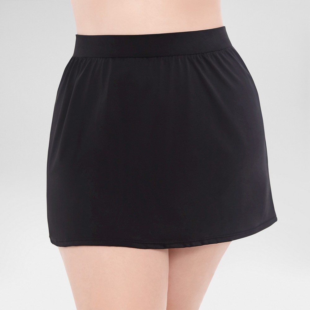 Womens Plus Size Slimming Control Swim Skirt Bottom Black 16W - Dreamsuit by Miracle Brands