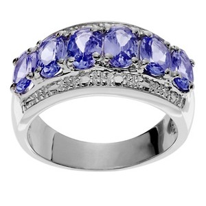 1 1/5 CT. T.W. Oval-cut Tanzanite Accent Prong-set Ring in Sterling Silver - Purple, 6, Women