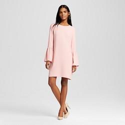 Women's Crepe Gathered Sleeve Shift Dress Blush - Leyden