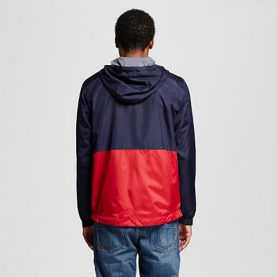 Men's Chevron Light Weight Rain Jacket Navy Colorblock S - Mossimo Supply Co., Multicolored
