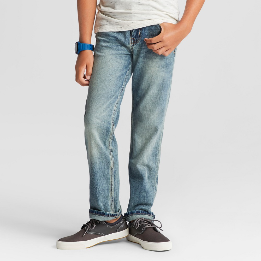 Boys Straight Fit Jean - Cat & Jack Light Wash 16, Blue