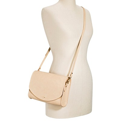 Cesca Women's Faux Leather Structured Crossbody Handbag with Detachable Shoulder Strap - Beige, Beige Nude