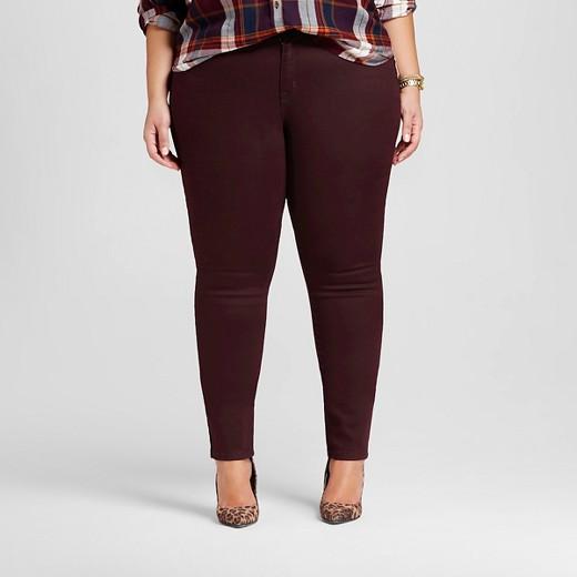 Women's Plus Size Skinny Jeans Burgundy - Ava & Viv™ : Target