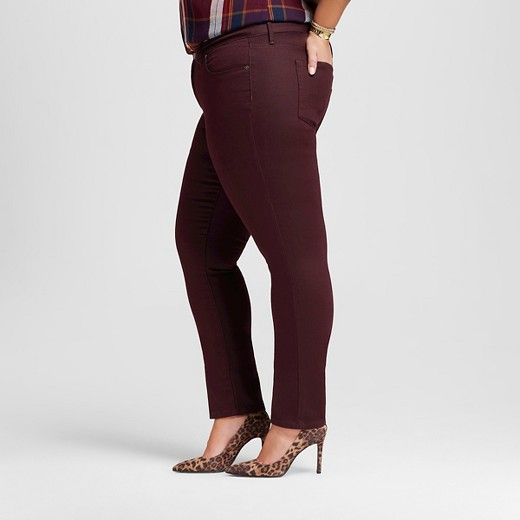 $20.98 ... - Women's Plus Size Skinny Jeans Burgundy - Ava & Viv™ : Target